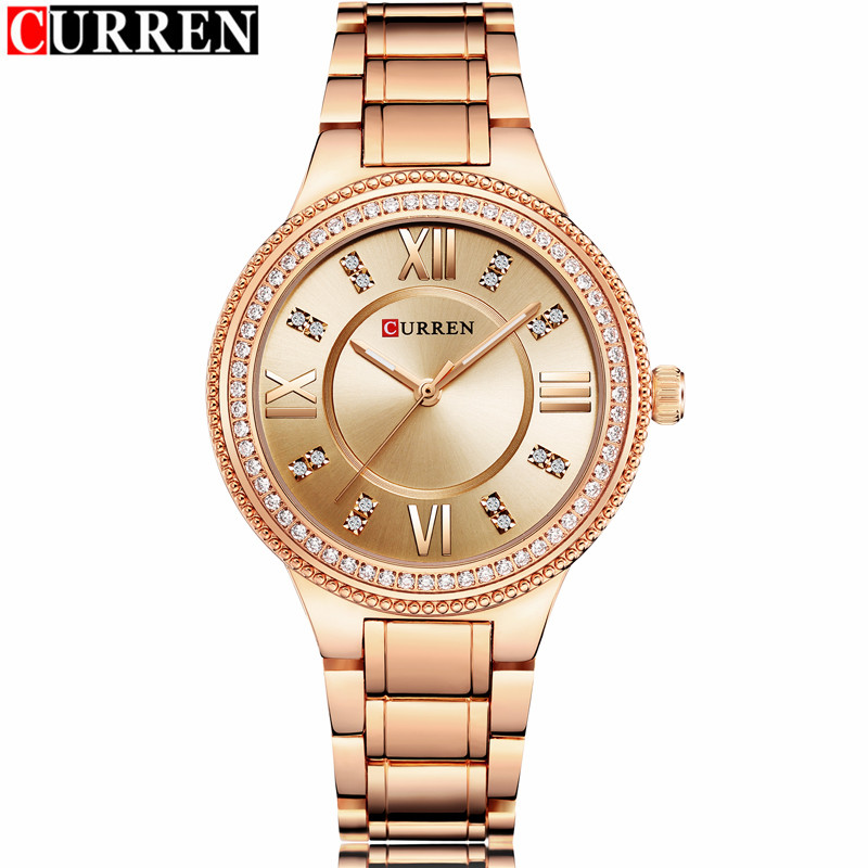 NEW Womens Fashion Watches Curren Luxury Gold Stainless Steel Quartz Watch Ladies Dress Jewelry For Women Gifts Wristwatches<br>