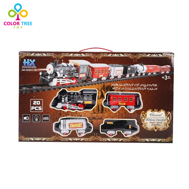 20 Pcs Classic Simulation Railway Train Set with Real Smoke and Light&Music Educational Toys(China (Mainland))