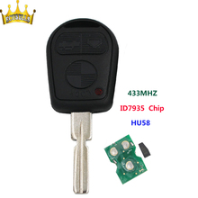 3 Button Remote Control Key Fob Car Key blank blade HU58 433MHZ ID44 Chip for BMW 3 5 7 X5 X3 Z4 E38 E39 E46