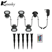 10W a drag four RGB LED submersible lights IP68 waterproof remote control garden landscape park fish tank aquarium decoration