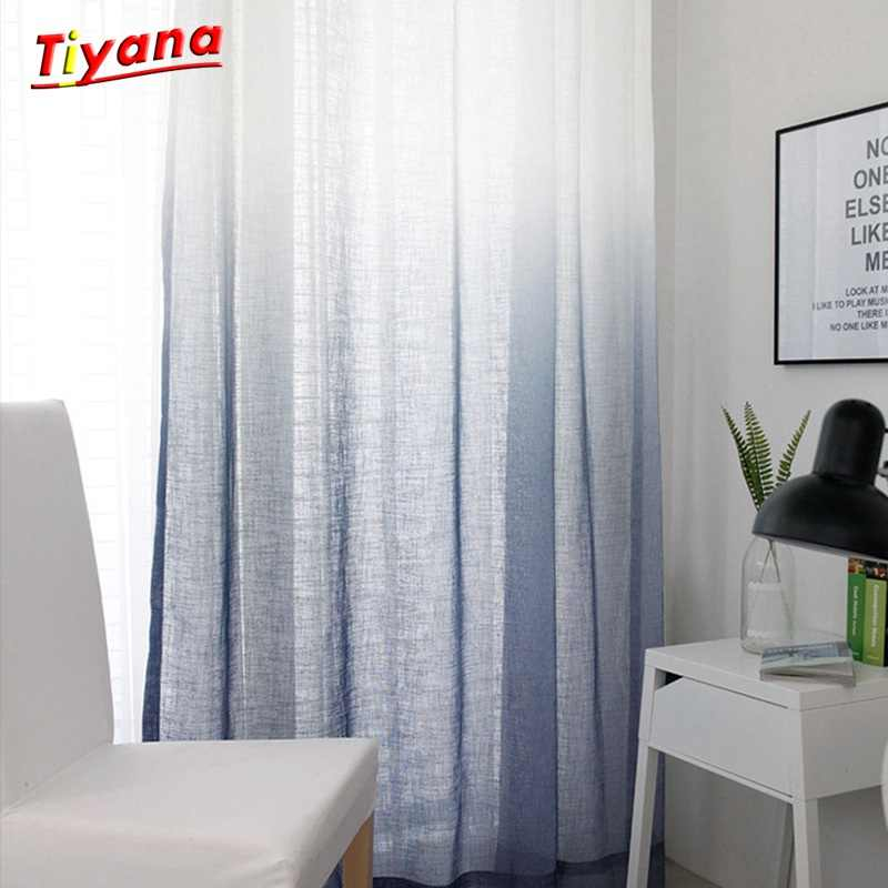 Hemp Yarn Curtain Tulle for Living Room Creative Gradient Color Screen Nordic Simple Modern Curtain Bedroom Gauze Bay Window 30