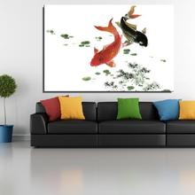 Ink painting fish Animal Traditional Chinese Oil Painting Spray Frameless Unframed Canvas Artist picture on the wall Scarf
