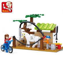 SLUBAN Happy Farm Building Blocks Sets Animal Model Bricks Horse Care Station educational DIY toys for children brinquedos