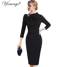 Vfemage Womens Autumn Elegant Pleated Bow Asymmetric Neck 3/4 Sleeve Slim Work Office Business Cocktail Party Sheath Dress 18333(China)