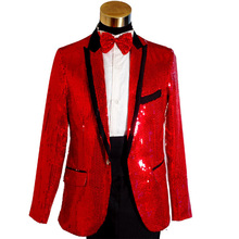 Plus Size Fashion Red Sequined Mens Wedding Groom Suits & Blazer Black Paillette Singer Performance Suits (Jacket+Pant) S-3XL