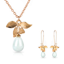 Shellhard Charms Imitation Pearl Jewelry Set Fashion Orchid Flower Gold Chain Pendant Necklace Earring Women Wedding Jewellery