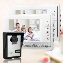 "FREE SHIPPING New 7"" Color Video Intercom Door Phone System + 2 White Monitor + Waterproof Door bell Camera In Stock Wholesale"