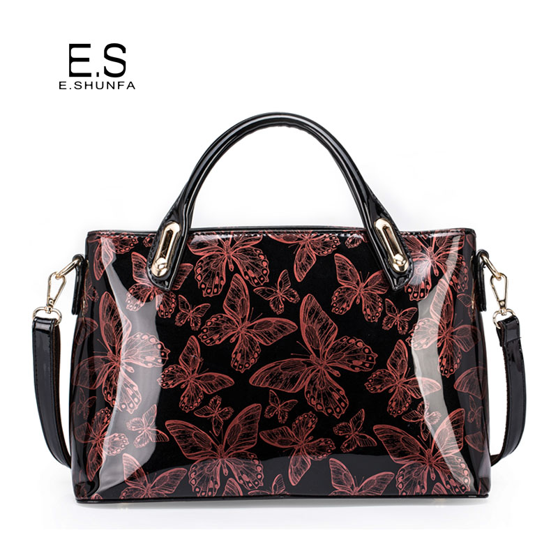 Vintage Fashion Women Bag Tote 2017 New Arrival Patent Leather Handbag Butterfly Printed Elegant Ladies Shoulder Bags Handbags<br>