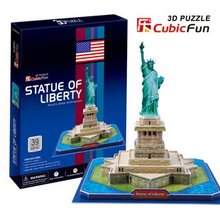 Candice guo! Hot sale 3D puzzle toy CubicFun 3D paper model toy jigsaw game famous Statue of Liberty