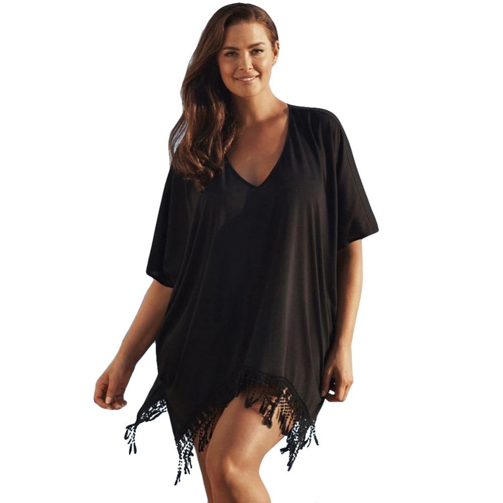 Plus Size 3xl Mini See Through Chiffon Dress For Women Sexy Tassel Crochet Tunic Beach Dress Beach Wear 6