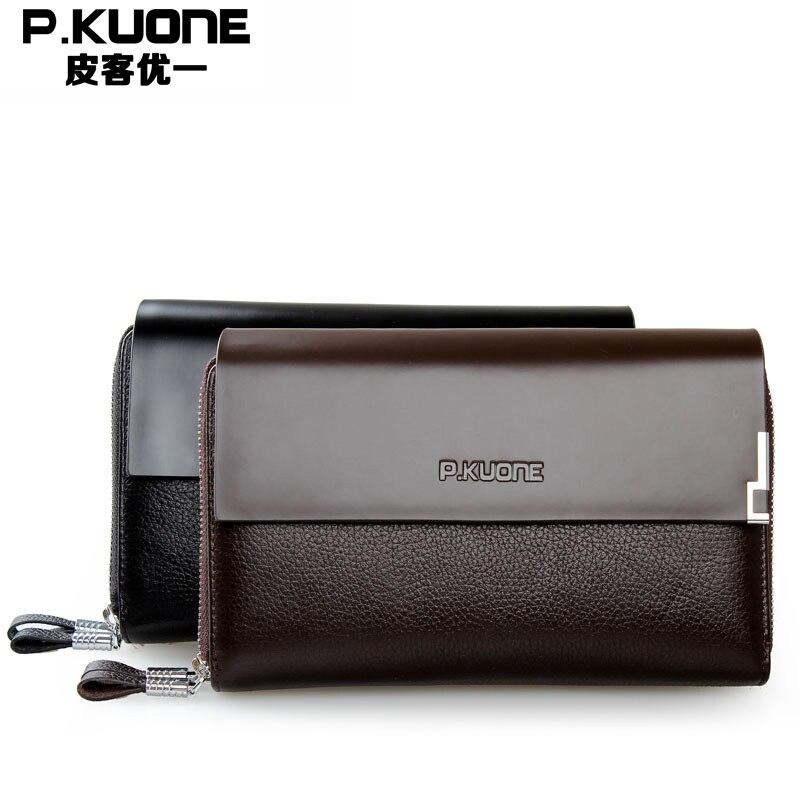 Famous Brand Cowhide Mens Clutch Bag Genuine Leather Business Handbags Double Zipper Large Capacity Men Clutch Purses<br>