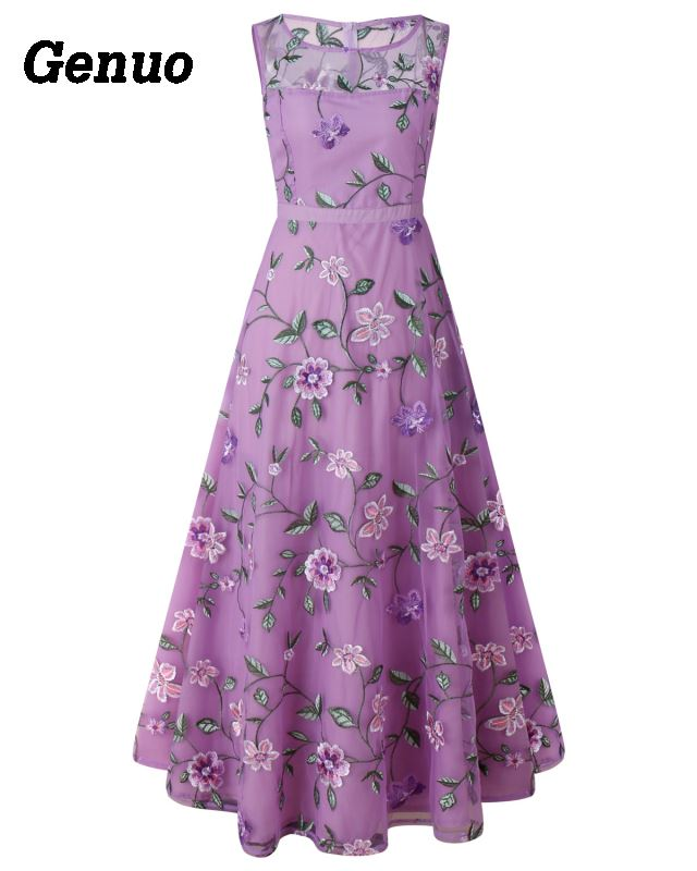Flower Embroidery Maxi Dress 16