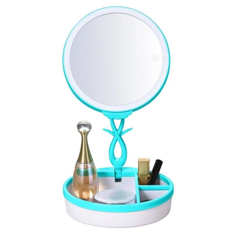 New Kemei Folding Cosmetic Mirror LED USB Charging Multi-functional Body Induction Nightlight Storage Base, Luxury induction<br>