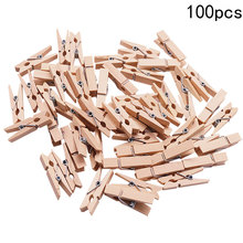 100pcs 25*3mm Wooden Pegs Mini Natural Wooden Clothes Pin Photo Paper Peg Clothespin Craft Clips JK0451(China)