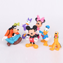 Disney Kid Toys 6pcs/Set Cute Mini Mickey Mouse Clubhouse Minnie Donald Duck Collectors Action Figure Toys Christmas Gift Doll