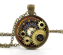 Steampunk Compass Necklace Pendant Vintage Bronze Chain Necklace Compass Style Design Gears Cog Jewelry Unisex Gift HZ1