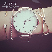 New fashion trendy arrow Bowknot crystal cuff bangle set for women girl gifts B0014(China)