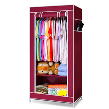 Single Canvas Wardrobe Bedroom Hanging Storage Furniture 2 Shelves Wardrobes Wine Red