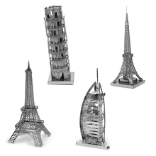 High quality 3D Metal Puzzle Metal Puzzles famous buildings Leaning Tower of Pisa Eiffel Tower building puzzles 3D puzzles gifts(China)