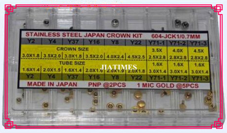Free Shipping 63pcs 0.7mm 1 MicroM Stainless Steel Japan Crown Kit in Silver and Gold Color for Watch Repair <br>