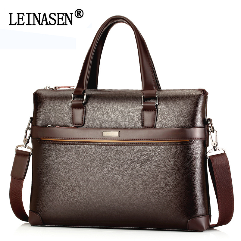 LEINASEN Brand Leather Business Handbags Men Casual Crossbody Bags Mens Fashion Shoulder Bag Laptop Briefcases Bolsa Feminina<br>