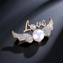 Atreus Wings brooch pin for women simulated pearl lapel pin broches jewelry gifts dropshipping