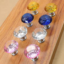 2016 Unique Design 30mm Diamond Crystal Glass Door Drawer Cabinet Furniture Handle Knob Screw Home Accessories