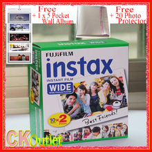 20 Sheets Fujifilm Instax Wide VALID UNTIL 2019-2 +Free 1 Wall Album + 20 Photo Protector For Polaroid Instax Camera 300 200 210