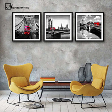London Tower Bridge Red Bus Poster Minimalist Canvas Painting Black White Cityscape Wall Picture Print Modern Home Room Decor