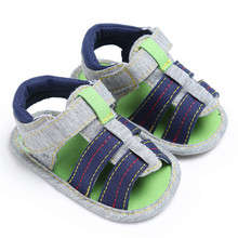 ROMIRUS Baby Boy Shoes Summer Canvas Infant Kids Boys Soft Sole Crib Newborn Sandals Shoes Footwear for Babies Boys Sandals 2017(China)