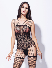 Buy Hot Women's Sexy Lingerie Black Open Crotch Fishnet Bodystocking Bodysuit Lace Body Stocking Crotchless Lingerie Bodystocking