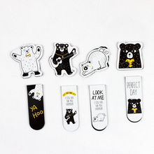 2pcs/pack Cute Lovely Bear Magnetic Bookmarks Books Marker of Page Student Stationery School Office Supply