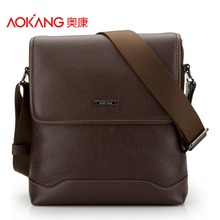 Aokang Top Quality Genuine Leather Men's Shoulder Bags 2 colors Black/Brown(China)
