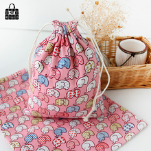 Pink elephant print 100%cotton canvas bag Clothes socks/underwear shoes dust receive cloth bag home Sundry kids toy storage bags(China)
