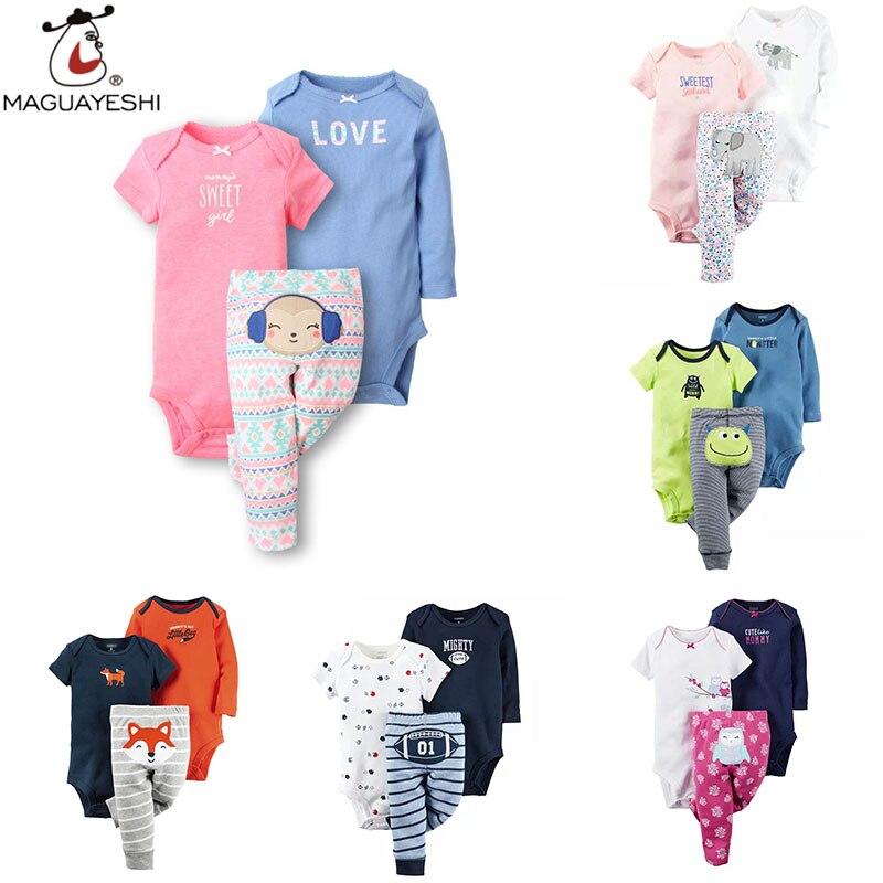 Newborn Baby Clothing Sets Cartoon Print Colorful Girl boy Bodysuit Short Sleeve Cute Rompers fashion Bebe children Costume 3pcs<br><br>Aliexpress