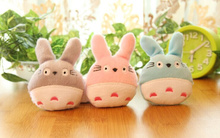 3Colors- Super Kawaii 6CM TOTORO Stuffed TOY ; Plush String Pendant TOY BAG Key Chain Charm Bouquet TOY DOLL