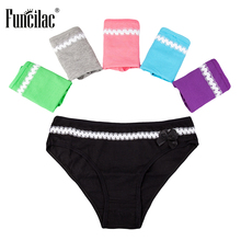 Buy FUNCILAC Briefs Women Sexy Knickers Cotton Panties Solid Bow Knot Crotchless Female Underwear Ladies Underwear 5Pcs/Lot