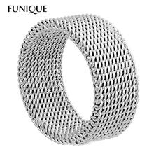 FUNIQUE 8mm Stainless Steel Wide Thick Mesh Band Ring Choose Size Rings Unique Jewelry Silver Tone Deformable Women Men Jewelry