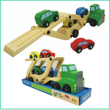 Carrier Truck and Cars Wooden Toy Set With 1 Truck and 4 Cars children's toys wooden model classic toys car carrier children