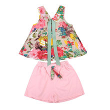 2017 Summer Kids Clothes Sleeveless Floral Vest T-shirt Tops+Pink Shorts Hot Pant 2PCS Children Girls Clothing Outfits Sunsuit