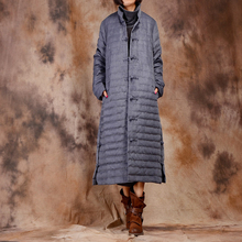 Johnature Women High Quality Down X-Long Coat 2017 Winter New Chinese Style Button Long Sleeve Stand Vintage Women Down Coats(China)