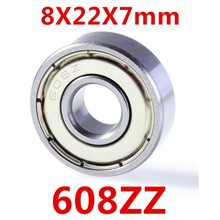 High Quality 10pcs/lot Miniature ABEC-5 deep groove ball bearing 608ZZ 8*22*7 mm 3D printer accessories bearing 608 2Z P0
