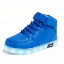 Size 25-37// USB Charging Basket Led High Top Children Shoes With Light Up Kids Casual Boys & Girls Glowing Luminous Sneakers