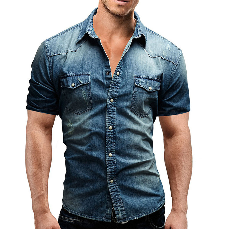 Summer men's clothes Men's casual shirt Solid denim shirt men Pocket stitching Fashion Cardigan turndown collar Short-sleeved