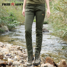 2017 Summer Camouflage Army Green Pants Women Cargo Pants Women Military Trousers Fashion Casual Slim Baggy Pants Women GK-9585(China)