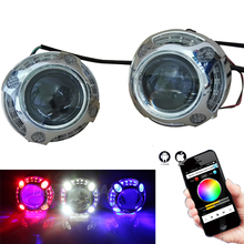 3'' Universal Models Q5 Headlight Lens Phone Bluetooth APP Control RGB Angel Eyes Bi-Xenon Light H4 H/L High And Low Headlights(China)