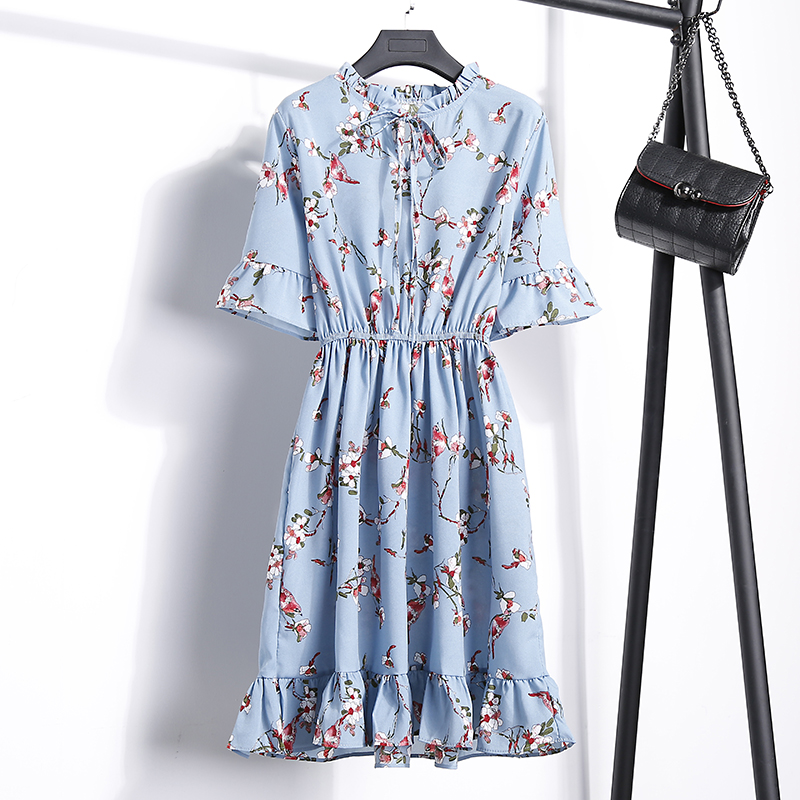 2018 Free Shipping New Fashion Floral Chiffon Summer Dresses Sweet Thin Word Slim Women Work Wear Print Dress Casual Cute Hot 15