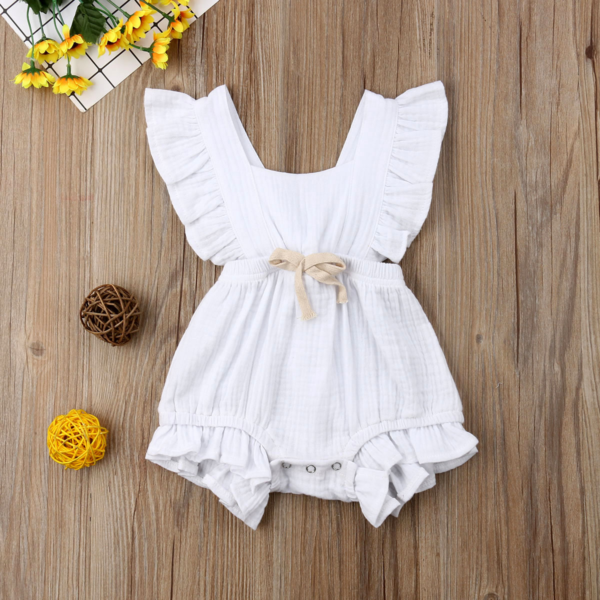 Baby Girl Sleeveless Ruffle Romper