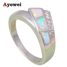 New Style Wholesale Retail White Fire Opal Silver Stamped Zirconia Fashion Jewelry Rings USA sz #5#6#7#8#9 OR773A