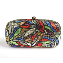 Luxury Women Designer Handbags High Quality Brand Crystal Clutch Purse Leaves Patterns Multi Color Discount Evening Clutch Bag